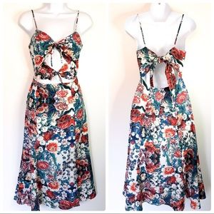 NBD Revolve floral tie 'Tie Me Down' midi dress S